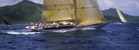 Yacht racing in the sea, Antigua, Antigua and Barbuda Fine-Art Print