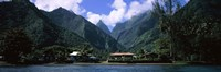 Mountains and buildings on the coast, Tahiti, French Polynesia Fine-Art Print