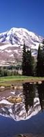 Reflection of a mountain in a lake, Mt Rainier, Pierce County, Washington State, USA Fine-Art Print