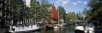 Boats in a channel, Amsterdam, Netherlands Fine-Art Print
