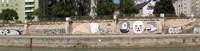 Graffiti on a wall at the riverside, Wien River, Vienna, Austria Fine-Art Print