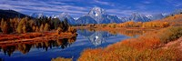 Reflection of mountains in the river, Mt Moran, Oxbow Bend, Snake River, Grand Teton National Park, Wyoming, USA Fine-Art Print