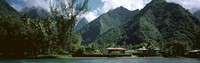 Mountains and buildings at the coast, Tahiti, Society Islands, French Polynesia Fine-Art Print