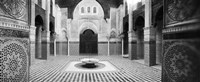 Interiors of a medersa, Medersa Bou Inania, Fez, Morocco (black and white) Fine-Art Print