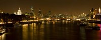 View of Thames River from Waterloo Bridge at night, London, England Fine-Art Print