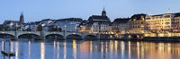 Bridge across a river with a cathedral, Mittlere Rheinbrucke, St. Martin's Church, River Rhine, Basel, Switzerland Fine-Art Print
