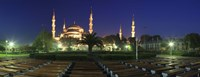 Mosque lit up at night, Blue Mosque, Istanbul, Turkey Fine-Art Print