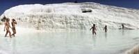 Children enjoying in the hot springs and travertine pool, Pamukkale, Denizli Province, Turkey Fine-Art Print