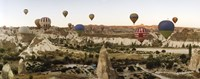 Mulit colored hot air balloons at sunrise over Cappadocia, Central Anatolia Region, Turkey Fine-Art Print