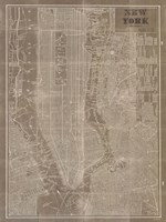 Blueprint Map New York Taupe Fine-Art Print