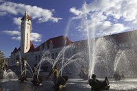 Fountains in front of a railroad station, Milles Fountain, Union Station, St. Louis, Missouri, USA Fine-Art Print