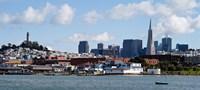 Buildings at the waterfront, Transamerica Pyramid, Coit Tower, Fisherman's Wharf, San Francisco, California, USA Fine-Art Print