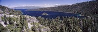 High angle view of a lake with mountains in the background, Lake Tahoe, California, USA Fine-Art Print