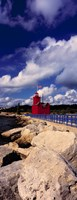 Lighthouse at the coast, Big Red Lighthouse, Holland, Michigan, USA Fine-Art Print
