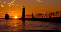 Grand Haven Lighthouse at sunset, Grand Haven, Michigan, USA Fine-Art Print