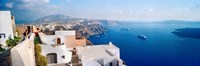 High angle view of a town at coast, Santorini, Cyclades Islands, Greece Fine-Art Print