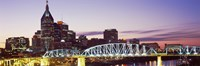 Skylines and Shelby Street Bridge at dusk, Nashville, Tennessee, USA 2013 Fine-Art Print