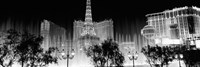Las Vegas Hotels at Night (black & white) Fine-Art Print