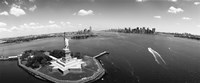 Aerial View of the Statue of Liberty, New York City (black & white) Fine-Art Print
