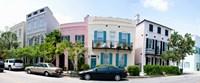 Rainbow row colorful houses along a street, East Bay Street, Charleston, South Carolina, USA Fine-Art Print