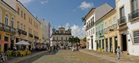 Sidewalk cafes on a street in Pelourinho, Salvador, Bahia, Brazil Fine-Art Print