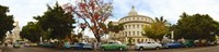 Vintage cars parked on a street, Havana, Cuba Fine-Art Print