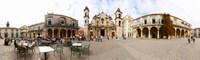 People at Plaza De La Catedral, Cathedral of Havana, Havana, Cuba Fine-Art Print