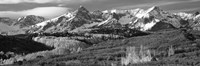 Mountains covered with snow and fall colors, near Telluride, Colorado (black and white) Fine-Art Print