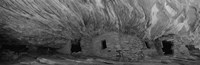 Dwelling structures on a cliff in black and white, Anasazi Ruins, Mule Canyon, Utah, USA Fine-Art Print