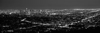 Black and White View of Los Angeles at Night from a Distance Fine-Art Print