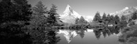 Reflection of trees and mountain in a lake, Matterhorn, Switzerland (black and white) Fine-Art Print