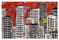 Red, Black and White Cityscape Fine-Art Print