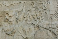 Revolutionary frieze in Huangpu Park by Huangpu River, The Bund, Shanghai, China Fine-Art Print