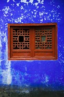 Blue Temple wall detail, Mingshan, Fengdu Ghost City, Fengdu, Yangtze River, Chongqing Province, China Fine-Art Print