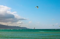 Tourists kiteboarding in the ocean, Maui, Hawaii, USA Fine-Art Print