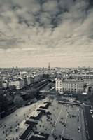 Aerial view of a city viewed from Notre Dame Cathedral, Paris, Ile-de-France, France Fine-Art Print