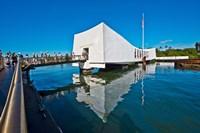 Reflection of a memorial in water, USS Arizona Memorial, Pearl Harbor, Honolulu, Hawaii, USA Fine-Art Print