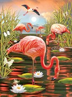 Flamingos-Vertical Fine-Art Print