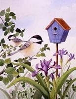Chickadees And Iris Fine-Art Print