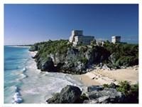 Pyramid on the seashore, El Castillo, Tulum Mayan, Quintana Roo, Mexico Fine-Art Print