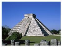 Old ruins of a pyramid,  Chichen Itza Mayan Fine-Art Print
