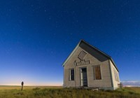The 1909 Liberty School on the Canadian Prarie in moonlight with Big Dipper Fine-Art Print