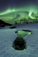 Aurora Borealis over a frozen river, Norway Fine-Art Print