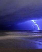 A bolt of lightning from an approaching storm in Miramar, Argentina Fine-Art Print