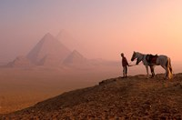 Dawn View of Guide and Horses at the Giza Pyramids, Cairo, Egypt Fine-Art Print