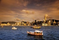 Boats in Victoria Harbor at Sunset, Hong Kong, China Fine-Art Print