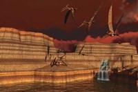Pteranodon dinosaurs in a prehistoric landscape Fine-Art Print
