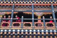 Monks in the Kichu Lhakhang Dzong, Paro, Bhutan Fine-Art Print