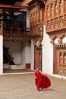 Monk at Punakha Dzong, Punakha, Bhutan Fine-Art Print