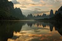 Li River and karst peaks at sunrise, Guilin, China Fine-Art Print